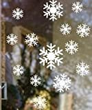 Winter Snowflakes Removable Wall, Auto or Window Clings Winter Snowflake Solid White Vinyl Decal Stickers (1 Sheet, 14 Clings)