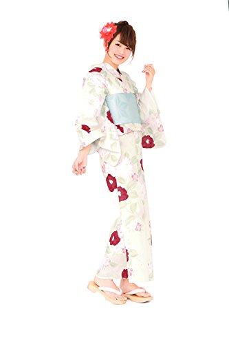 湿った好きである回路レディース浴衣セット[浴衣/半幅帯] bonheur saisons (ボヌールセゾン) 白 クリームホワイト ピンク 椿 ツバキ 綿 紅梅 ラメ 夏祭り 花火大会 仕立て上がり フリーサイズ