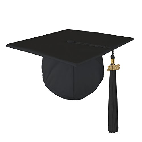 Graduation Matte Mortar Board Cap and Matching 2018 Tassel - BLACK ()