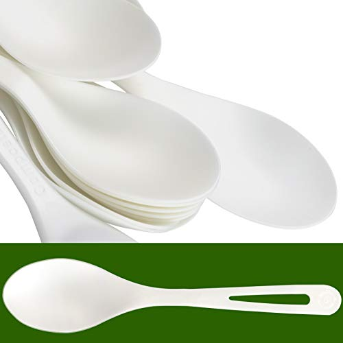 Biodegradable Spoons Made From Non-GMO Plant-Based Plastic 100 Pack. Sturdy Utensils are Certified Compostable, Disposable, Eco-Friendly Cutlery With No Wood Taste. Safe for Hot and Cold Foods! ()