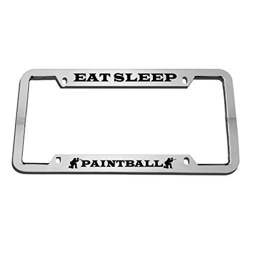 Eat Sleep Paintball Black License Plate Frame, Custom Auto Car Truck Tag Frame, Funny Humor License Plate Cover Holder for US Standard, Aluminum ()