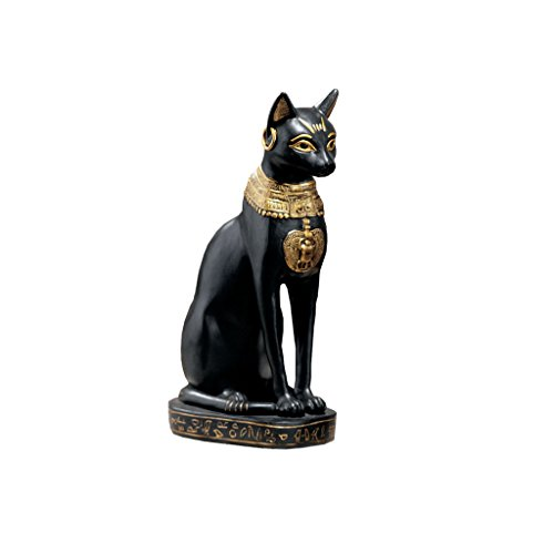 Design Toscano Egyptian Cat Goddess Bastet with Earrings Statue in Matte Black (Cat Statues Black)