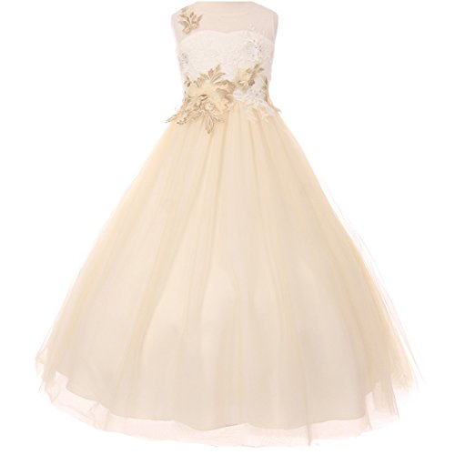 Big Girls Illusion Sleeveless A-Line Dress Decorated with Flower Lurex Embellishment Ivory Champagne - Size 10 by CrunchyCucumber