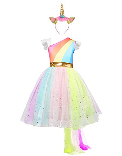 Girls Unicorn Dress with Headband Princess Dressing Up Costume Outfit Rainbow Age 2-8 Years (3-4 Years)