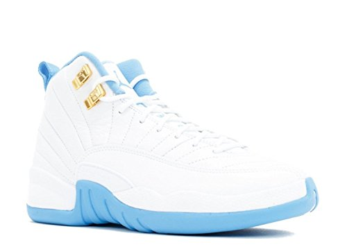 Jordan Kid's Air 12 Retro GG, White/Metallic Gold-University Blue, Youth Size 4 by Jordan