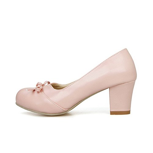 Shoes Bow WeiPoot with on Closed Round Material Pumps Tie Pink Soft Toe Women's Kitten Pull Heels qaq1PB