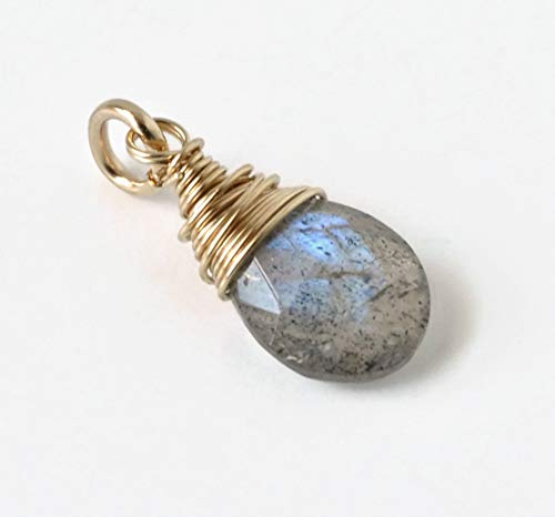 Labradorite Gemstone Charm for Necklace or Bracelet - Artisan Wire Wrapped Briolette Pendant