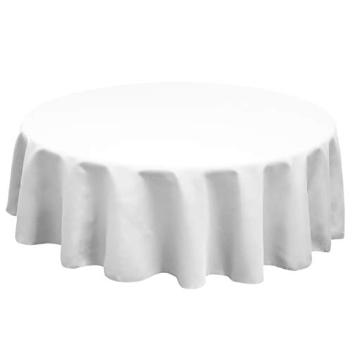 TableLinensforLess Polyester Round Tablecloth, 60 Inch Round, (White)