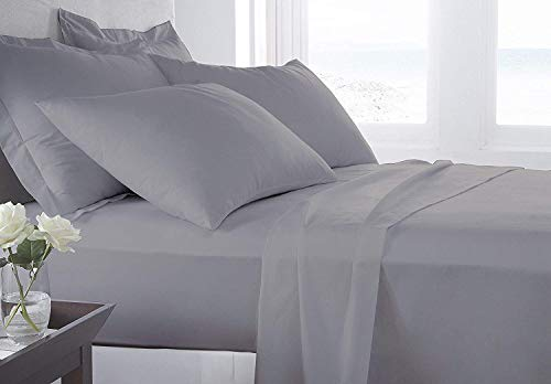 - MP Linen Sheet Set 450 Thread Count 100% Natural Cotton Short Queen Size 4 Piece Bed Sheet Set with 12 Inch Deep Pocket, Hypoallergenic Ultra Soft, Silver Gray Solid