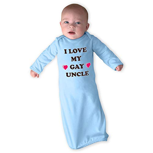 I Love My Gay Uncle Long Sleeve Envelope Neck Boys-Girls Cotton Newborn Sleeping Gown One Piece - Light Blue, Gown Only