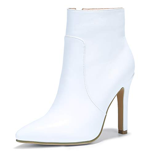 IDIFU Women's Vivian Classic Pointed Toe Ankle Booties High Stiletto Heels Side Zipper Short Boots (White Pu, 7 M US)