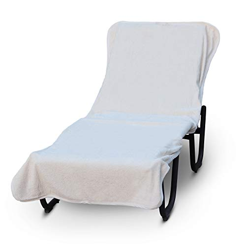 Luxury Hotel & Spa Towel Pool Chair Cover 100% Cotton, Soft Ring-Spun Cotton,Standard Size (Plain, White)