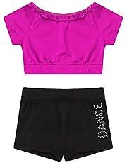 IEFIEL Ropa Niña Traje de Deportiva Conjunto Pantalones Cortos Y Top Blusa Chaleco Leotardo De Gimnasia Fitness Gym