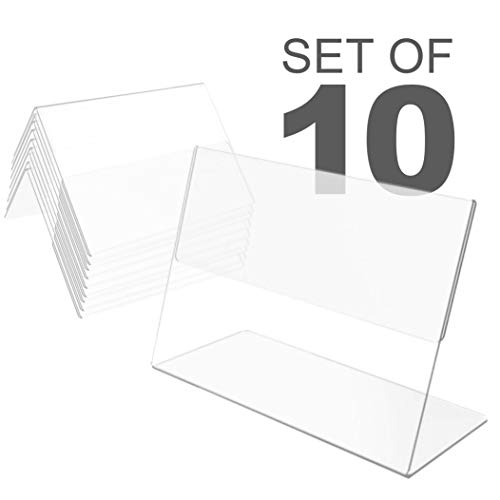 10 Pack Plastic Mini Price Holders 3 x 2.5 inches - Small Plastic Message Board Holders - Table Number Holders - Food Label Holders for Party - Small Price Label Holders (Price Table Plastic)