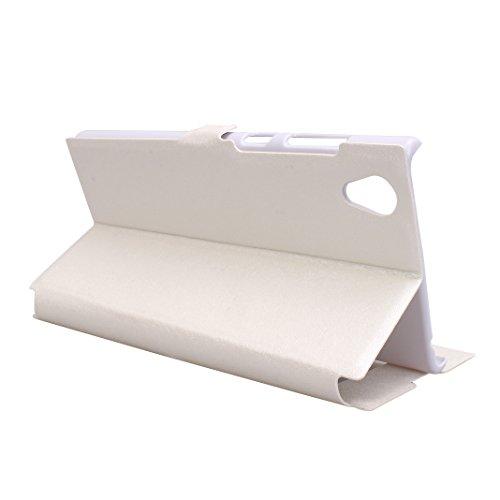 SONY Xperia L1 Funda Libro, SONY L1 Flip Case Cover, Moon mood PU Cuero Cubierta Piel con Tapas Interior Dura PC Parachoque para SONY Xperia L1 5.5 pulgada a Prueba de Choques Protectora Estuche con S Blanco
