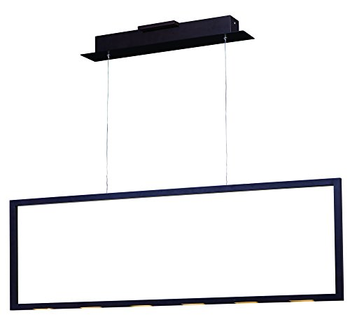 ET2 E22864-BZ Rhombus LED Linear Pendant, Bronze Finish, Glass, PCB LED Bulb, 50W Max., Dry Safety Rated, 3000K Color Temp., Standard Triac/Lutron or Leviton Dimmable, Mirror/Clear Glass + Shade Material, 1500 Rated Lumens by ET2 Lighting
