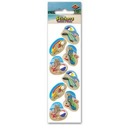 Summer Beach Party Stickers   (2 -