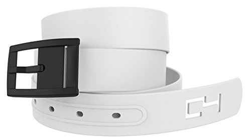 White Golf Belt With Black Buckle - Adjustable for Waist Size up to 44 Inch, Hypoallergenic - by C4 Belts (Snowmobile Attire)
