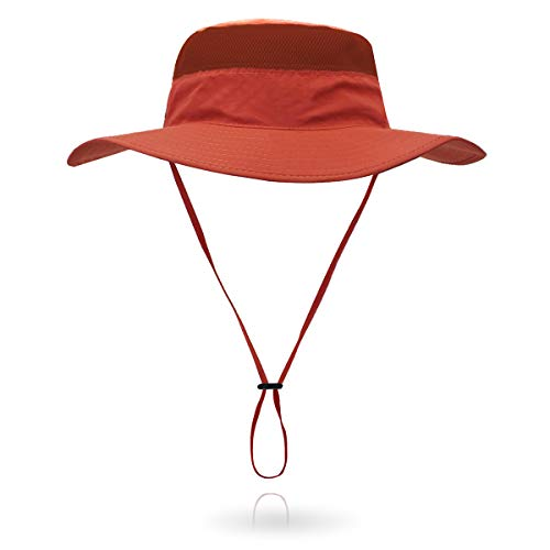 (Jane Shine Outdoor Sun Hat Quick-Dry Breathable Mesh Hat Camping Cap Orange Red)
