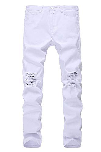 Risvolto Il Denim Al Battercake Jeans Tinta Uomo In Libero Tempo Per Slim Retrò Da Moda Alla Ginocchio Bianca A Fit Pantaloni Rt Comodo Unita Nn Con PqT7Bqw