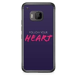HTC One M9 Transparent Edge Phone Case Heart Phone Case Follow Your Heart M9 Cover with Transparent Frame