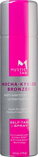 Mystic Tan Sunless Self-Tanning Airbrush Spray with Bronzer - Mocha-Kyssed, 6 Ounces (NEW (Self Tan Fast Dry Bronze)