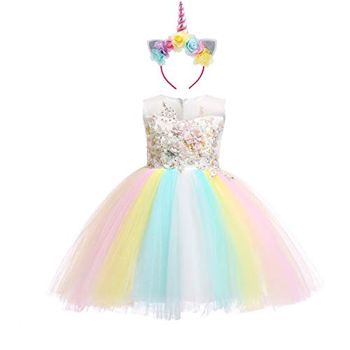 Girls Kids Flower Unicorn Birthday Outfits Rainbow Halloween Cosplay Fancy Headband Costume Tutu Dress up Tulle Pageant Party Princess Dance Evening Gown #A White Rainbow 13-14]()