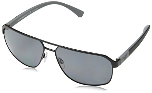 Emporio Armani EA2039 301481 Black EA2039 Square Aviator Sunglasses Polarised - Emporio Polarized Sunglasses Armani
