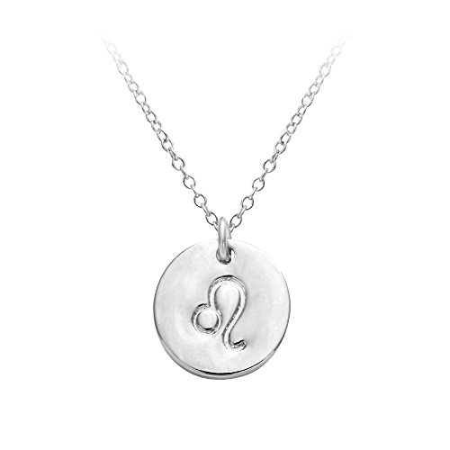 Leo Charm Pendant (SENFAI 12 Zodiac Sign Circle Tag Constellation Pendant Necklace Elegant Silver Color Horoscope Astrology Disc Charm Necklace (Leo))
