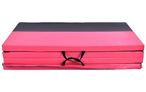 K&A Company Mat Thick Folding Panel Fitness Exercise Gymnastics Gym Pink Black 4' x 10' x 2""
