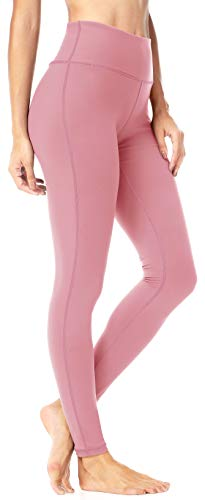 - QUEENIEKE Women Mid-Waist Hidden Pockets Sport Legging Yoga Pants Running Tights Size M Color Begonia Pink