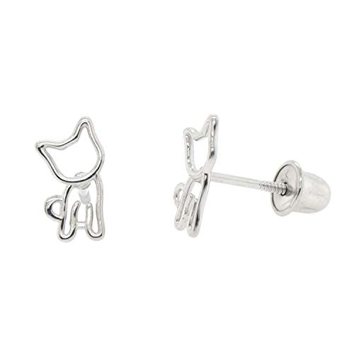 Dainty Minimalism 14k Gold Screw Back Cat Earrings Gift Ideas -WG