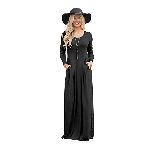 RONG Casual Vestimenta XIU Bolsillo De Algodón Casual De Larga Vestimenta Falda black an7dSq