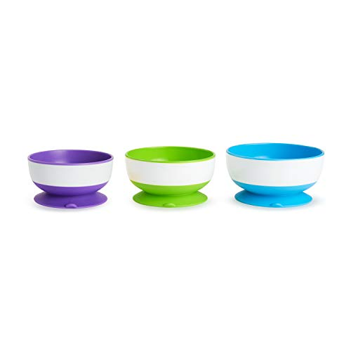 Munchkin Stay Put Suction Bowl, 3 Pack (Dog Childrens Dinnerware)
