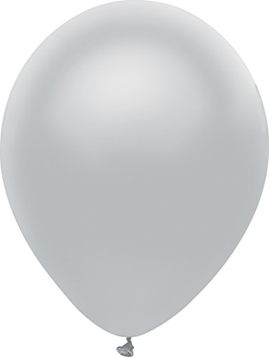 Platinum Balloon - PartyMate 72004 Made in the USA Metallic 5-Inch Latex Balloons, 50-Count, Shining Platinum