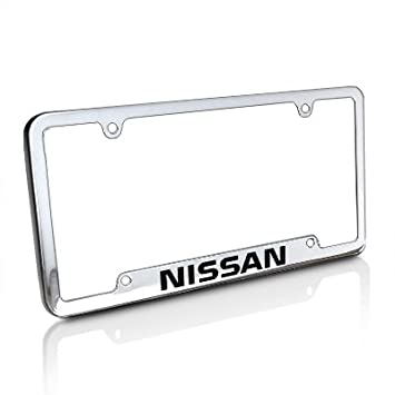 nissan chrome brass license plate frame with logo screw covers