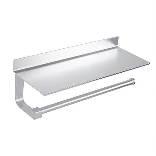 Wopeite Paper Towel Holder Shelf Wall Mount Kitchen Roll Dispensers Storage Shelf Rack, No Drilling Self Adhesive