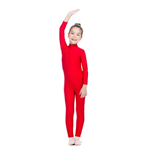 Dancewear Unitard (Girls Unitard Gymnastics High Neck Ankle Length Dance Bodysuit Dancewear (XS, Red))