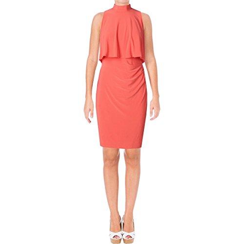 Ralph Lauren Mock Neck - LAUREN RALPH LAUREN Womens Mock Neck Ruched Cocktail Dress Orange 12