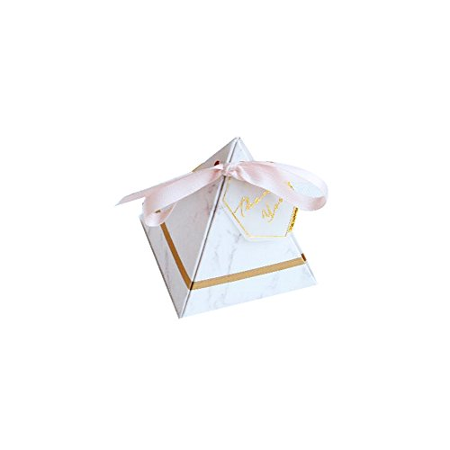 Colias Wing 50 pcs Marbling Pattern Pyramid Shape Stylish Design Wedding Birthday Party Favor Candy Boxes with Ribbon