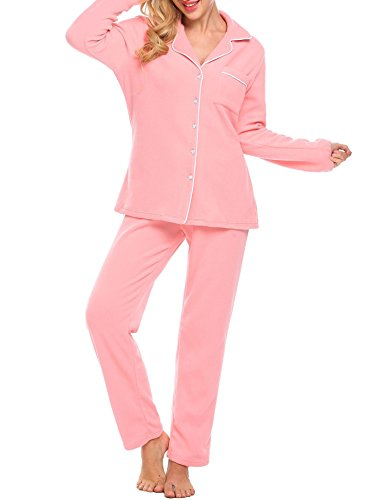 Ekouaer Women's Long Sleeve Top and Pant Pajama Set Fleece Loungewear (Misty Rose,XL) ()