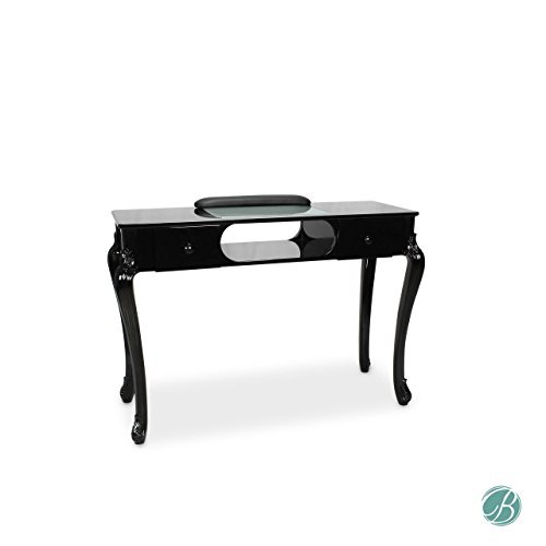 Fiona Manicure Nail Table Station Black (Table Top & Legs) for Beauty Spa Salon by Berkeley