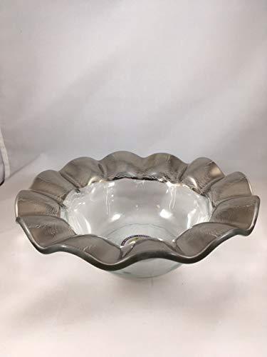 Annieglass Ruffle Glass Wine Coaster - Platinum Trim