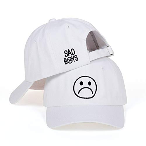 (Sad Boys Adjustable Hat Crying Face Embroidery Baseball Cap Dad Hat Hip Hop Cap (White))