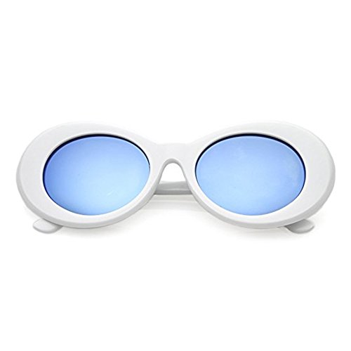 Aigemi 2018 Unisex Bold Retro Oval Classic Sunglasses Clout Goggles (White / - Can Lenses You Glasses Get For Any Made