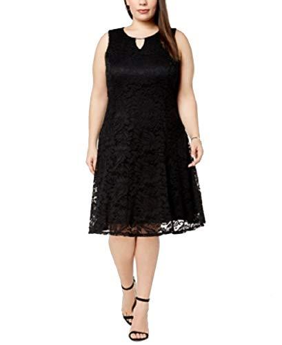 - JM Collection Plus Size Lace Keyhole Dress (Deep Black, 2X)