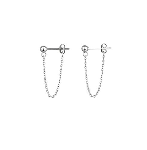 Tiny Ball Earrings with Chain Dangle Earrings 925 Sterling Silver Stud Earrings
