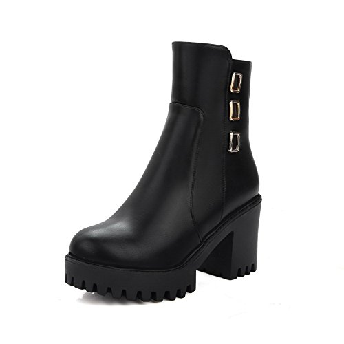AgooLar Women's Solid High-Heels Closed Round Toe PU Zipper Boots Black