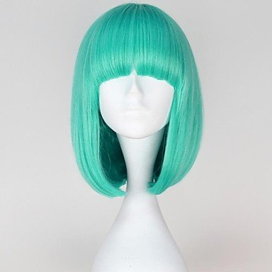 HJL-Lady Gaga Style Capless Fashion Short Straight Bluish Color Women Synthetic Wigs