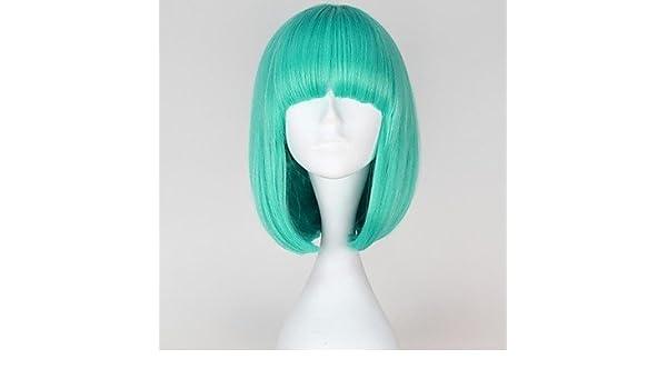 GSP-sin tapa de la moda estilo lady gaga cortos mujeres de color azulado recta pelucas sintéticas: Amazon.es: Deportes y aire libre